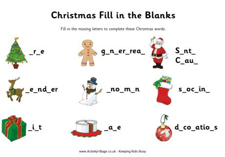 christmas activity forwork fill in the blanks worksheet for homeschool holidays in the