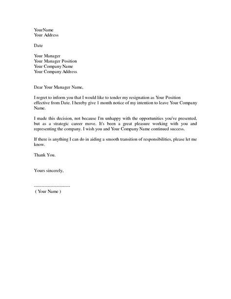 simple resignation letter  month notice  sample letter