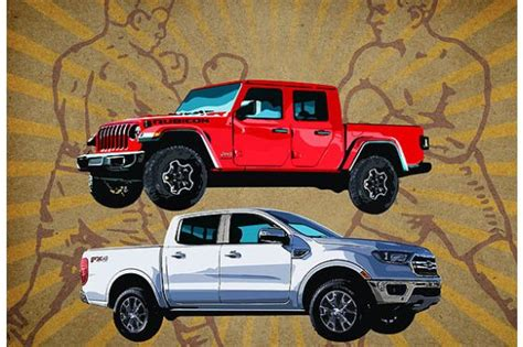 ford jeep 2020 2019 ford ranger vs 2020 jeep gladiator tale of the