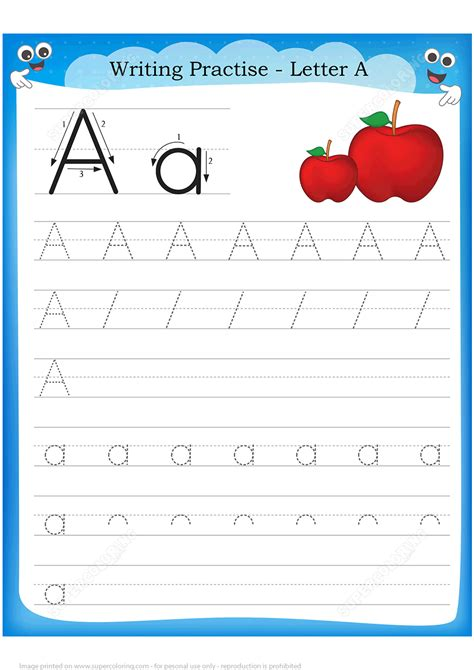 letter    apple handwriting practice worksheet