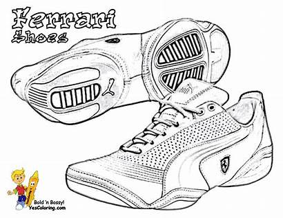 Ferrari Coloring Shoes Pages Puma Sports Basketball