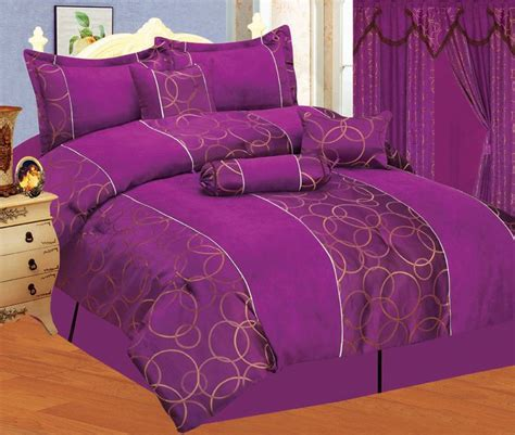 brand new bed in a bag purple gold suede comforter set