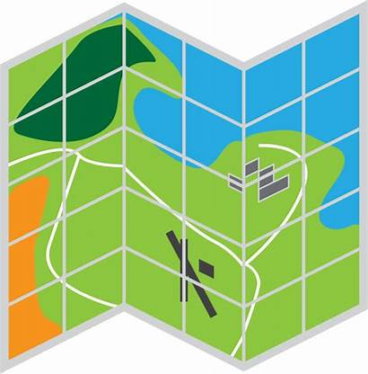 Clipart Map Grid Coordinates Folded Transparent Plane