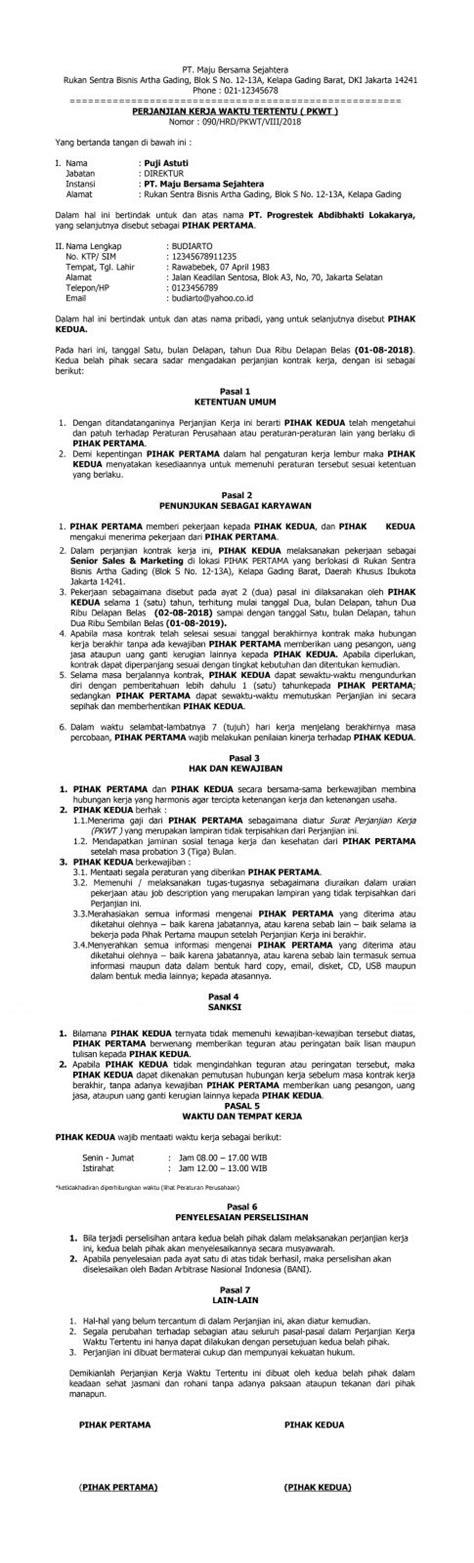 contoh kontrak kerja karyawan  sesuai peraturan