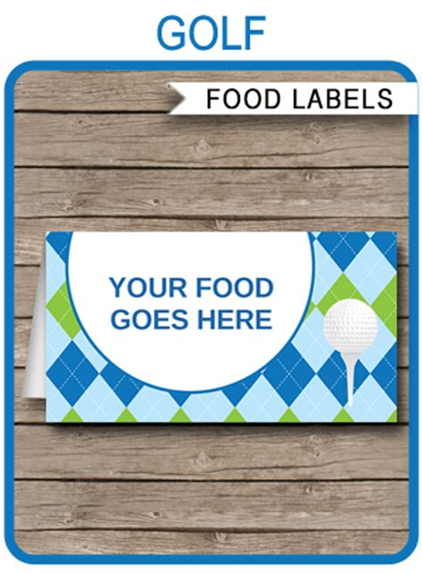 golf party food labels place cards golf theme birthday
