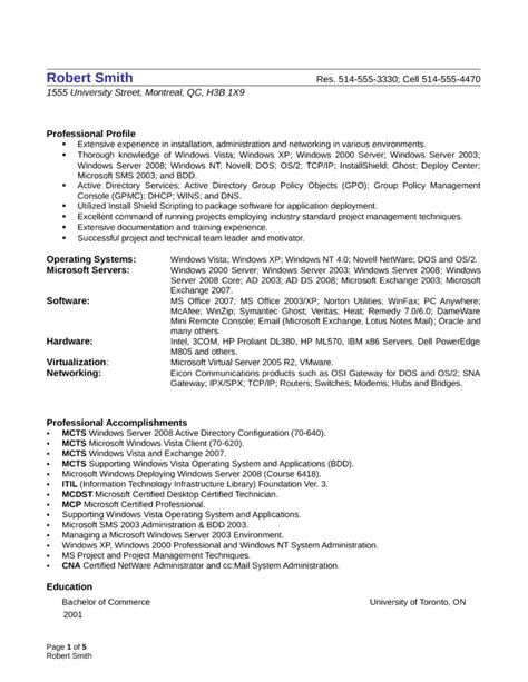 professional system administrator resume template