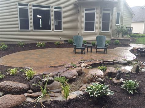patios steps lighting ecosystem koi pond plantings in