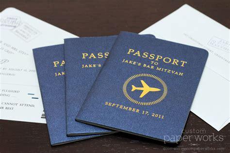 Bar Mitzvah Passport Invitations With Airplane Emblem