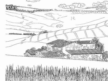 Scenery Coloring Adults Colouring Pages Travel Farm