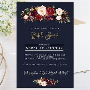 digital 4x6 fall theme bridal shower invitation dark With wedding invitations templates maroon