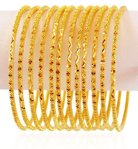 22k gold bangles set 6 pc asba59437 22k gold bangles churis set 6 pcs beautifully