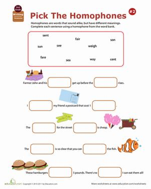 2nd Grade Homophone Worksheets Educationcom