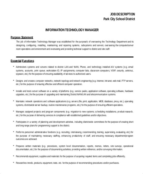 sle it project manager description 9 exles in word pdf