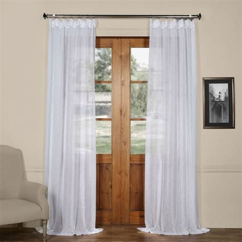 aspen white solid faux linen 50 x 84 inch sheer curtain
