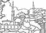 Mosque Coloring Drawing Printable Getcolorings Getdrawings sketch template