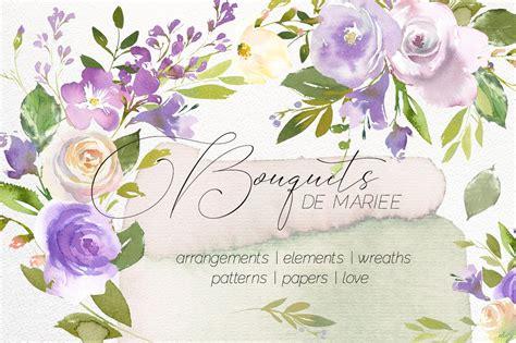 bouquets de mariee watercolor set illustrations