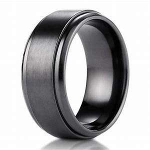 9mm black titanium benchmark men39s wedding ring with stair With wedding ring black titanium