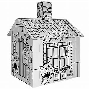 Cabane En Carton À Colorier : maison hant e en carton blanc colorier achat vente support d corer maison hant e en ~ Melissatoandfro.com Idées de Décoration