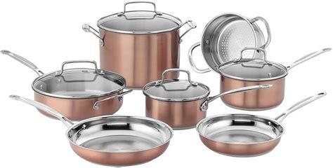 cuisinart css bu chefs classic stainless cookware set medium copper   cookware set
