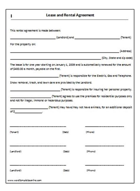 lease agreement template microsoft word templates