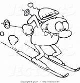 Steep Slope Man Drawing Skiing Winter Vector Down Happy Line Gnurf sketch template