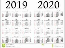 Kalender Für 2019 Und 2020 Vektor Abbildung Bild 50677558