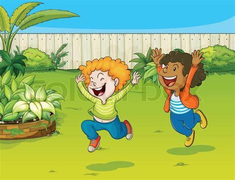 Spielendes Comic by Spielende Kinder In Einem Garten Vektorgrafik Colourbox
