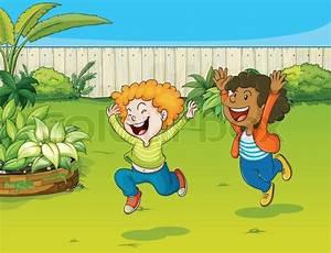 Spiel Im Garten : spielende kinder in einem garten vektorgrafik colourbox ~ Frokenaadalensverden.com Haus und Dekorationen