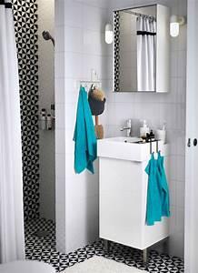 Meuble Salle De Bain Turquoise : salle de bains avec un meuble lavabo blanc un miroir et ~ Dailycaller-alerts.com Idées de Décoration