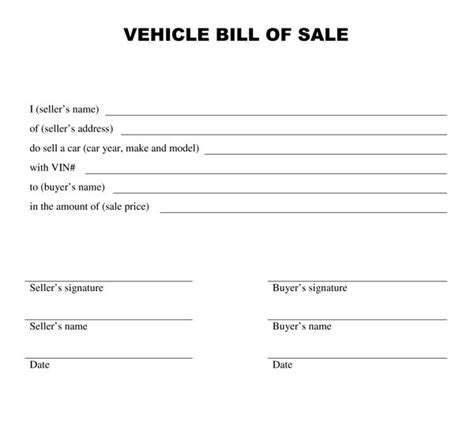 printable auto bill  sale form generic