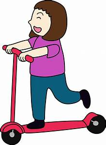 Clipart of Girl Riding Scooter - Free Clip Art