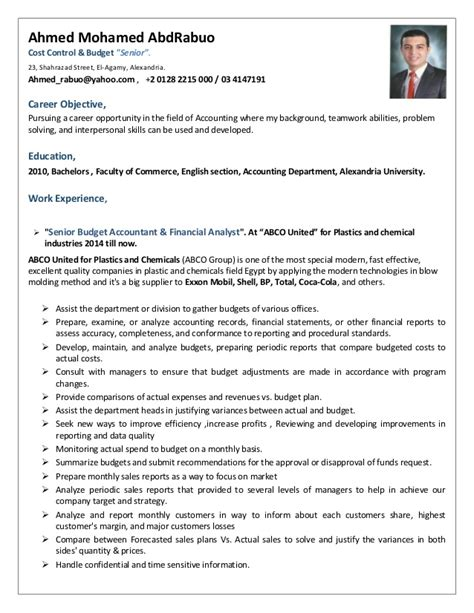 Cost Accountant Cv by Cost Budget Accountant C V
