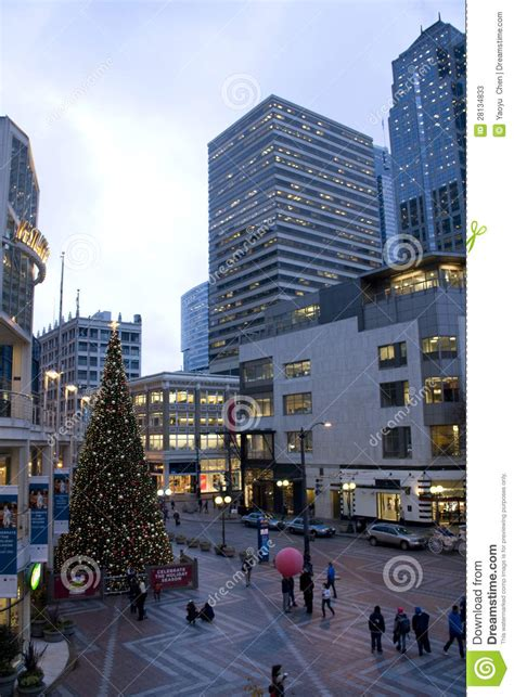 christmas decor seattle downtown seattle with decorations editorial stock photo image 28134833