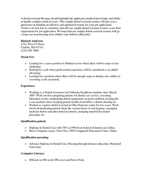 How To Write A Resume For Dental Assistant Position by Dental Assistant Resume Sle Berathen