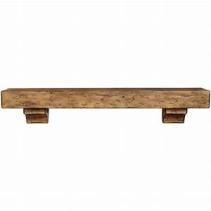 Rustic Pine Wood Fireplace Mantel Shelf Brick-Anew