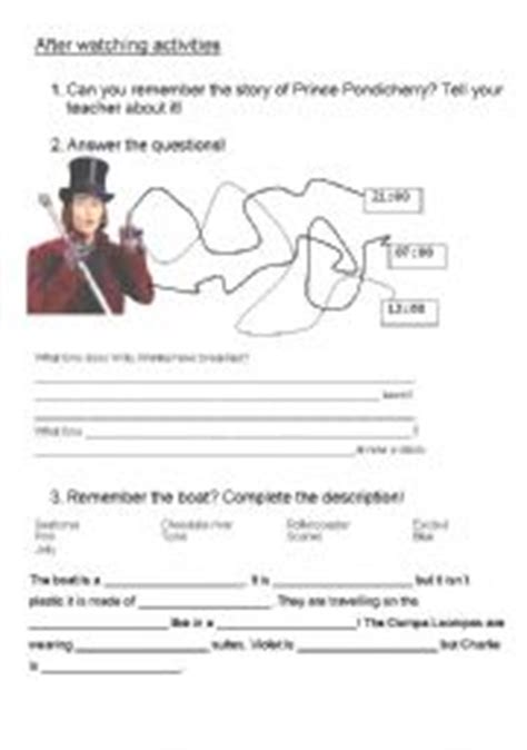 and the chocolate factory worksheets