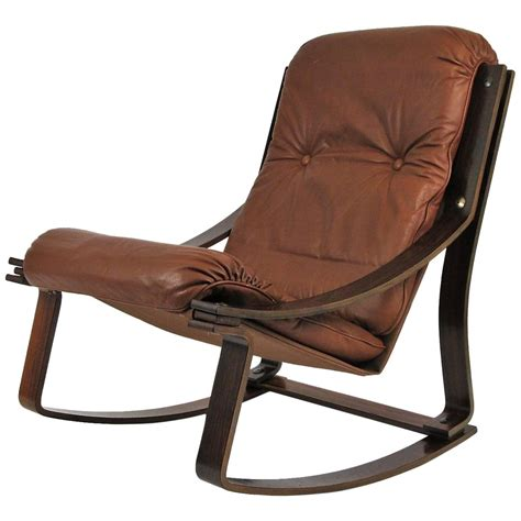 leather rocking chair rosewood and leather westnofa norwegian rocking chair at 1stdibs