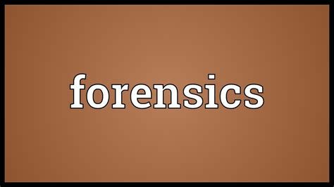 Forensics Meaning - YouTube