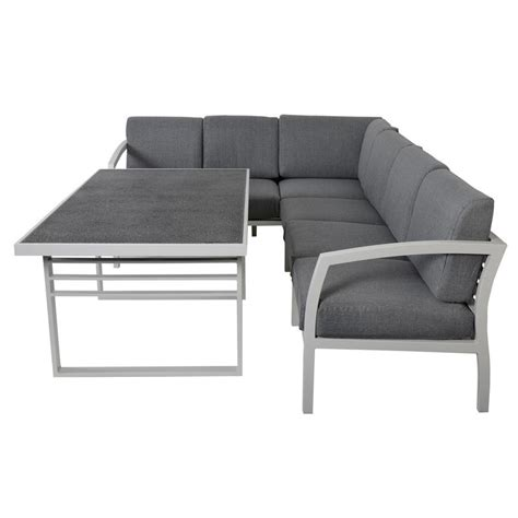 dining table with sofa seating st lucia 6 seat aluminium garden furniture sofa dining