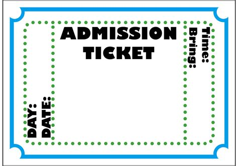admission ticket template free printable admit one ticket template clipart best