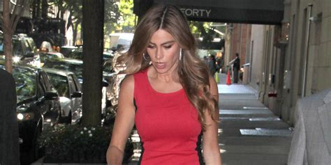 sofia vergara facebook sofia vergara wears red illusion dress in new york city