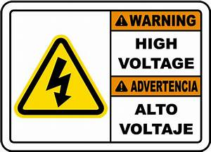 bilingual warning high voltage label e3443bil by With high voltage warning label requirements