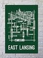 East Lansing, Michigan Street Map Print - School Street ...