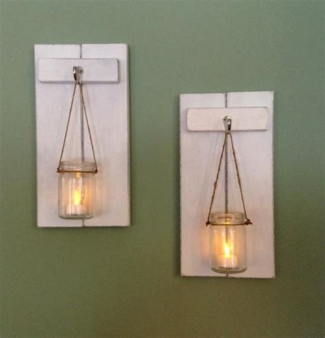 rustic wall candle holders rustic wall sconce wooden candle holder jar candle