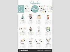 Colorful cute monthly calendar 2017 with tent,whale