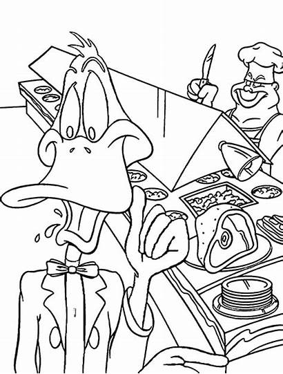 Coloring Restaurant Pages Duck Daffy Working Netart