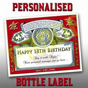 personalised budweiser labels x 6 birthdaysparties With custom budweiser label