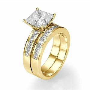 305 carat princess cut diamond bridal ring set 18k gold With 18k yellow gold wedding ring sets