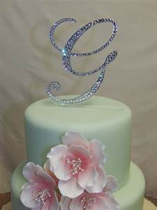 5quot tall initial monogram wedding cake topper swarovski With rhinestone letters for cakes
