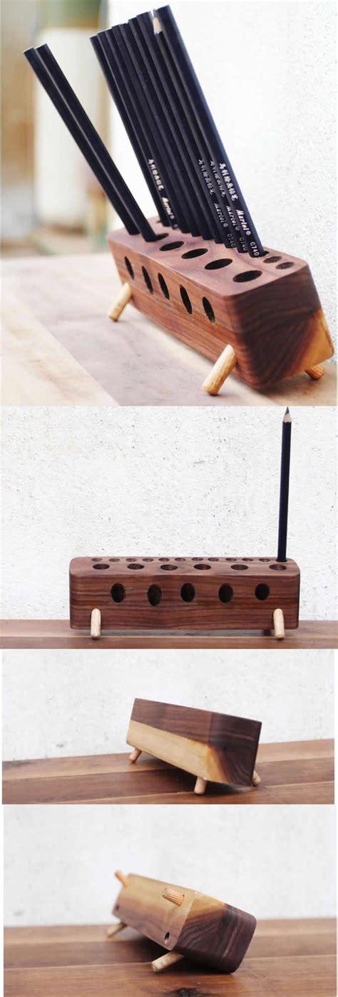 wooden  pencil holder stand office desk organizer